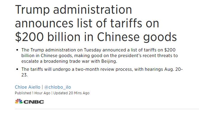【重磅】美公布对价值2000亿美元的中国商品关税清单