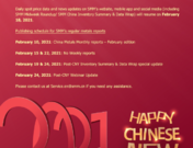 Notice: Chinese New Year holidays publishing schedule