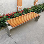 不锈钢长椅户外公园实木椅室外小区创意坐凳广场休闲长凳