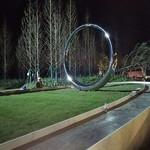 綠化帶鍛造圓環雕塑 不銹鋼鏡面圓擺件
