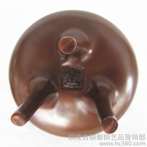 铜都雕塑 纯铜香炉 铸铜雕塑 铜工艺品 装饰工艺品摆件 檀香炉 铜器 紫铜带底细足圆形炉