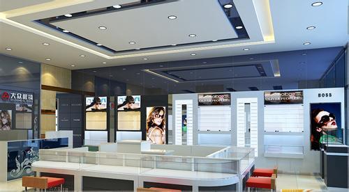眼镜展示柜台设计制作厂家济南展柜制作济南山人眼镜柜台公司