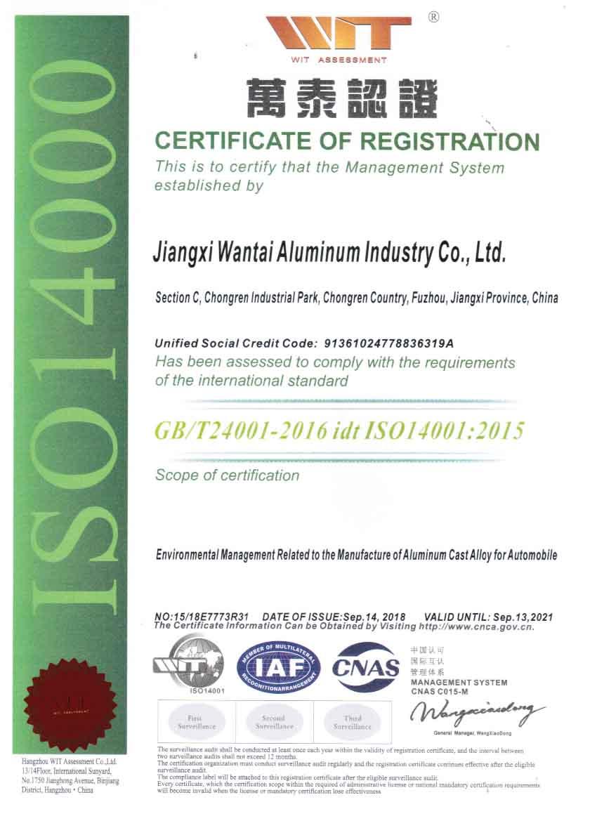 IS014001证书(英文版)